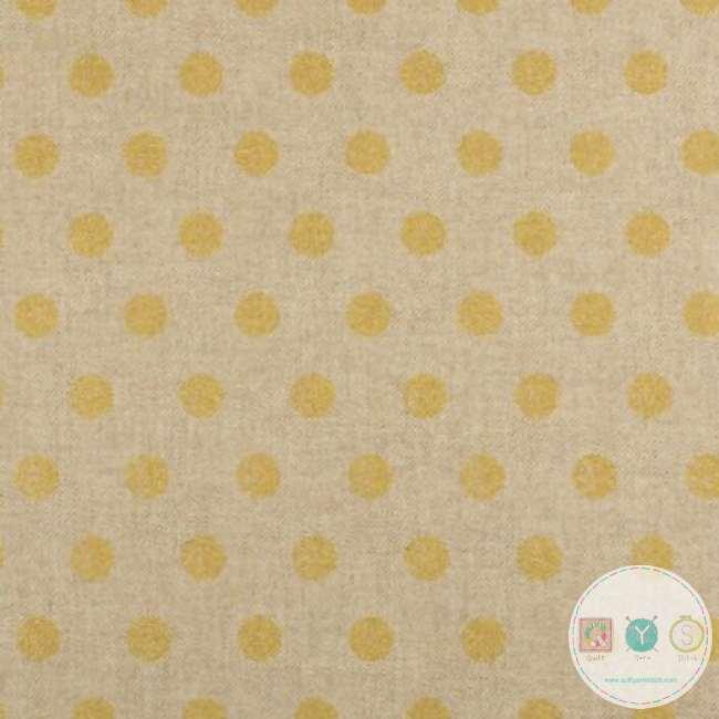 Gold Dots Linen Look - Upholstery - Medium Weight - Cotton Mix - Bag Fabric