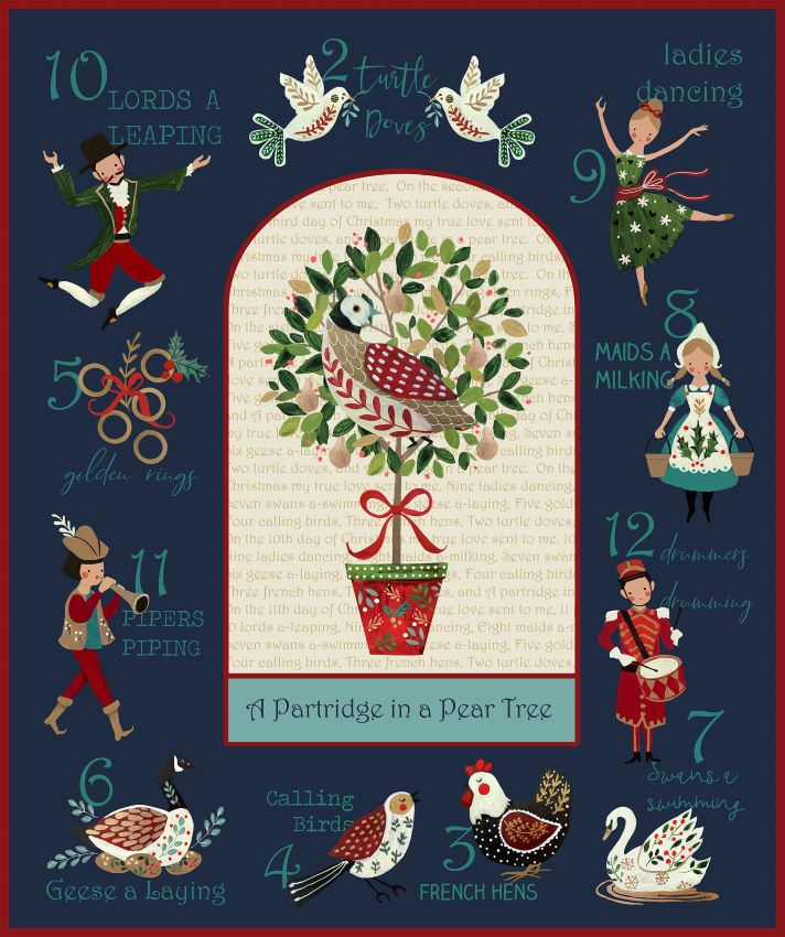 12 Days of Christmas Fabric Panel by Northcott