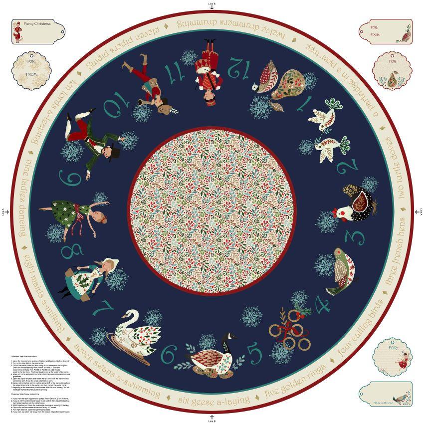 12 Days of Christmas Tree Skirt Fabric Panel