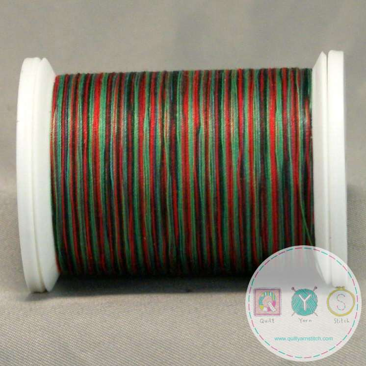 YLI Machine Quilting Cotton - Festival Thread 244-50-14V - Variegated Green and Red Mix