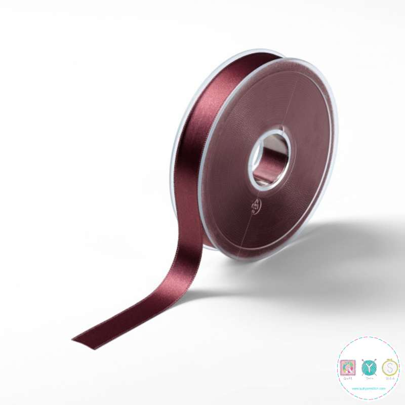 Wine Red Satin Ribbon - 16mm - Double Sided - Trim - Haberdashery