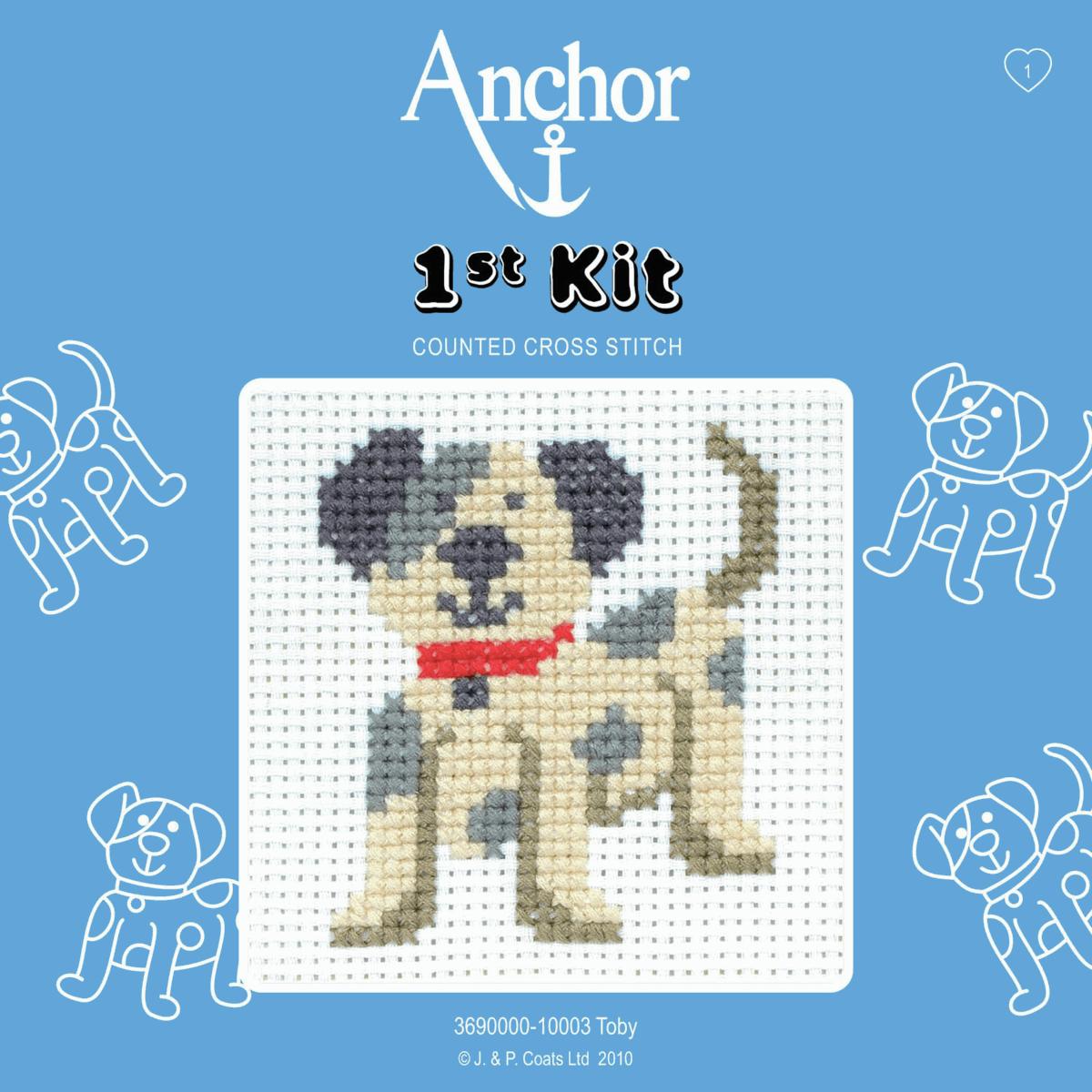 1st Cross Stitch Kit by Anchor - Toby Dog