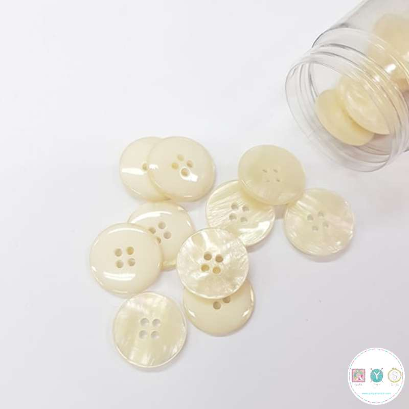 Beige Perlescent Shell Effect Button - 20mm - 4-Hole Sew Through - Haberdashery