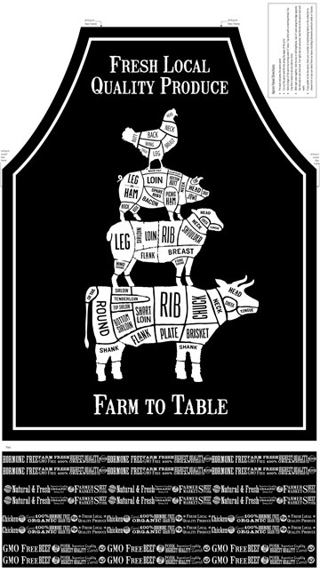 Farm To Table - Apron Fabric Panel - 100% Cotton - by Northcott Fabrics - Patchwork & Quilting