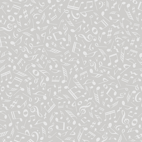Quilting Fabric - Musical Notes Grey Tone on Tone from Quilting Illusions by Quilting Treasures