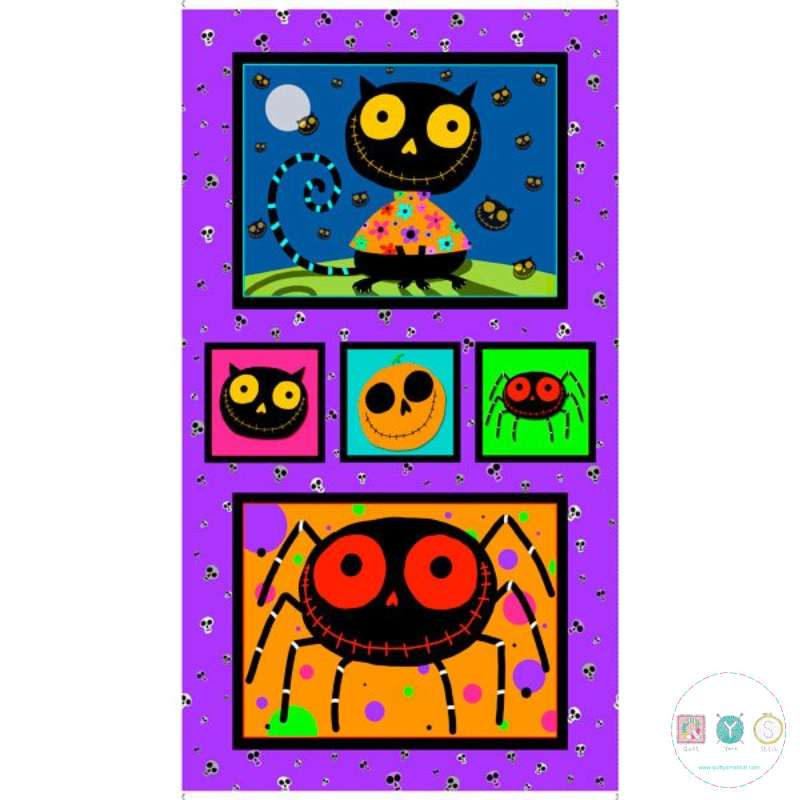 Creepie Halloweenies Fabric Panel - 100% Cotton - by Amanda Haley for Quilting Treasures - Patchwork & Quilting