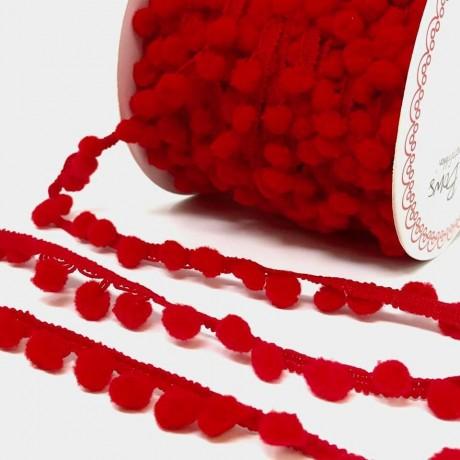 Red Pom Pom Trim - by Berties Bows - Priced Per Yard
