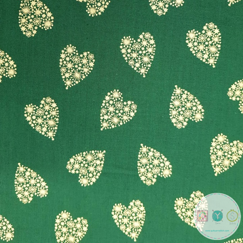 Gold Hearts on Green Cotton - 54