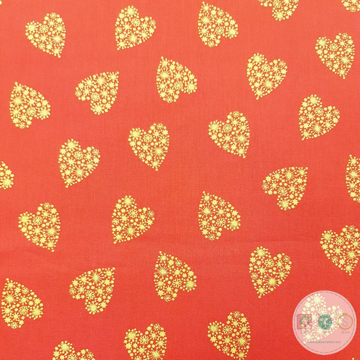 Gold Metallic Heart on Red Cotton - 54