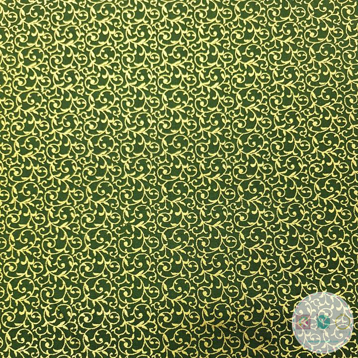 Gold Metallic Scroll on Green - Christmas Festive Fabric - John Louden - Patchwork & Quilting
