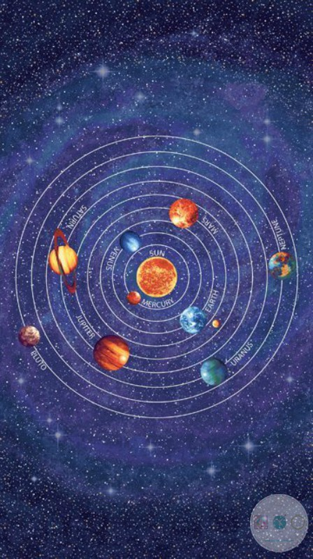 Solar System Planets Glow In The Dark Fabric - Out of this World - Northcott