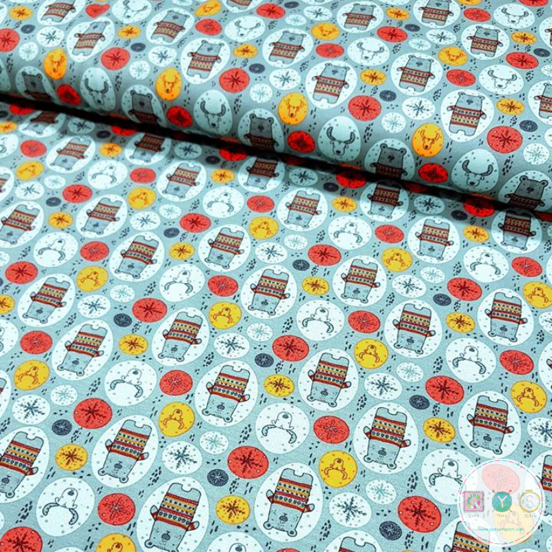Blue Bear And Moose - Cotton Jersey Fabric - Childrens Animal Print - Stenzo - Dressmaking Textiles