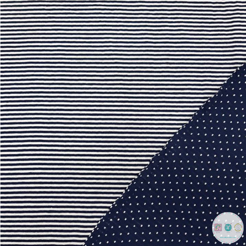 Navy and White Reversible Cotton Jersey - Stripes and Spots - by Stenzo Textiles - Dressmaking Textiles