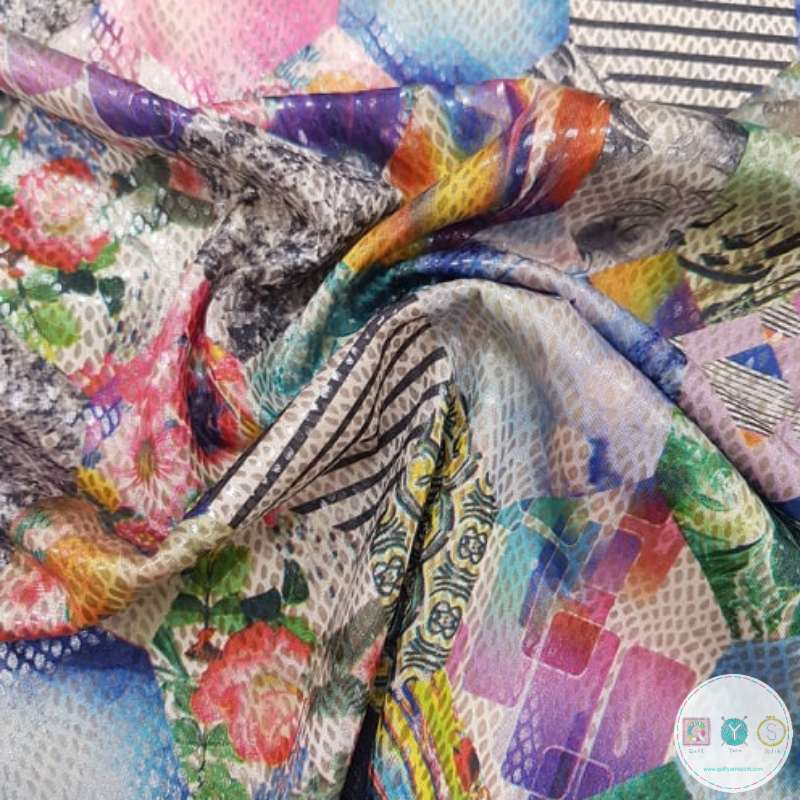 Hexie Snake Skin Jersey Foil - 4 way stretch - Dressmaking Fabric