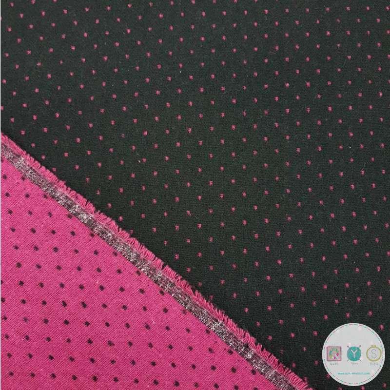 Black & Pink Dot Reversible Wool Blend - Coat Fabric - Dressmaking