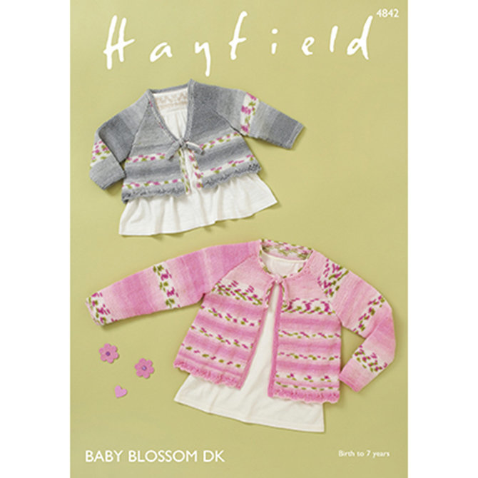 Hayfield Baby Blossom DK Pattern 4842 - Childrens Cardigan - Knitting Pattern