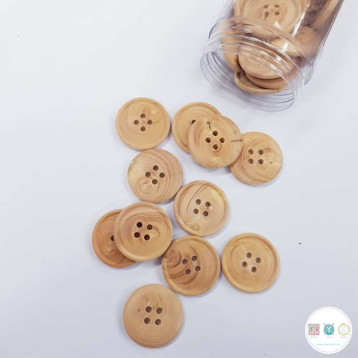 20mm Light Wood Effect Button - 4-Hole Sew Through - Haberdashery