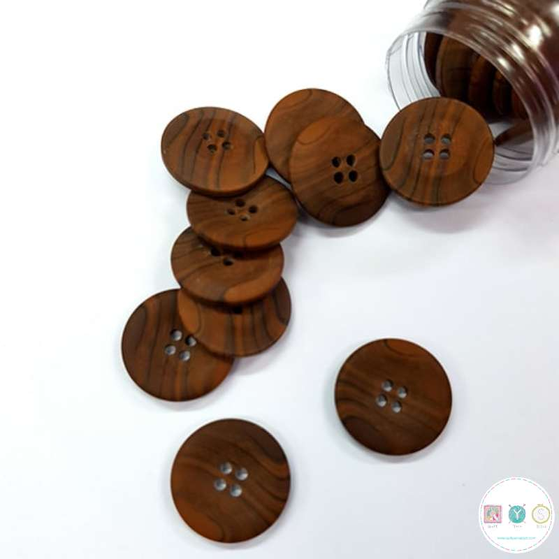 25mm Wood Effect Button - 4 Hole Sew-Through Flat Button - Haberdashery