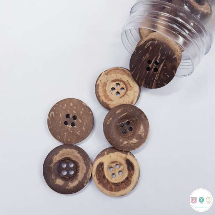 25mm Coconut Wooden Button - 4 Hole Sew-Through Flat Button - Haberdashery