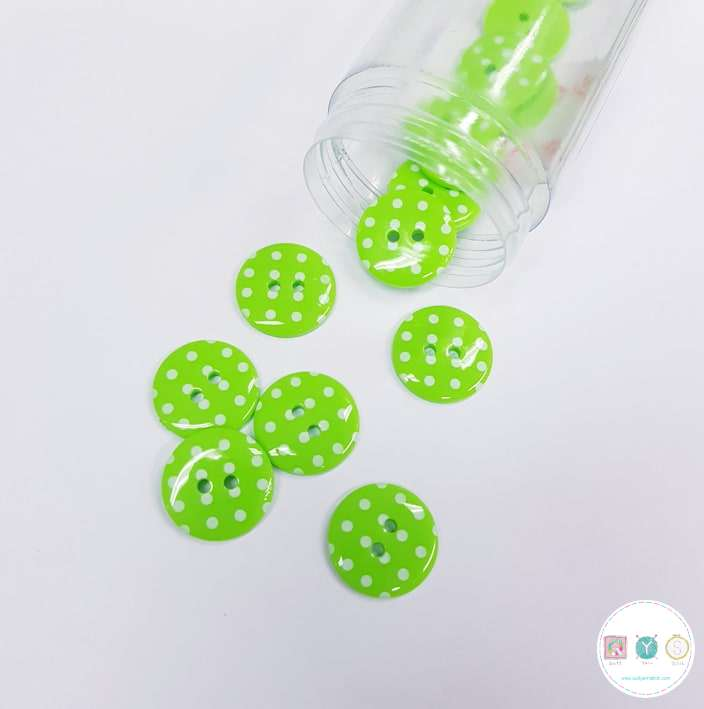 Lime Green Spotty - Flat - Plastic - 15mm - 2-Hole Sew On Button - Haberdashery
