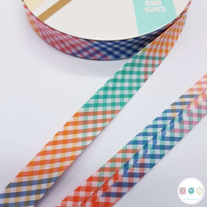 18mm Multi Coloured Gingham - Bias Tape - Binding - Trim - Haberdashery