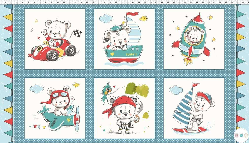 Teddy's Great Adventures - 100% Cotton - Fabric Panel - by In the Beginning Fabrics - Patchwork & Quilting
