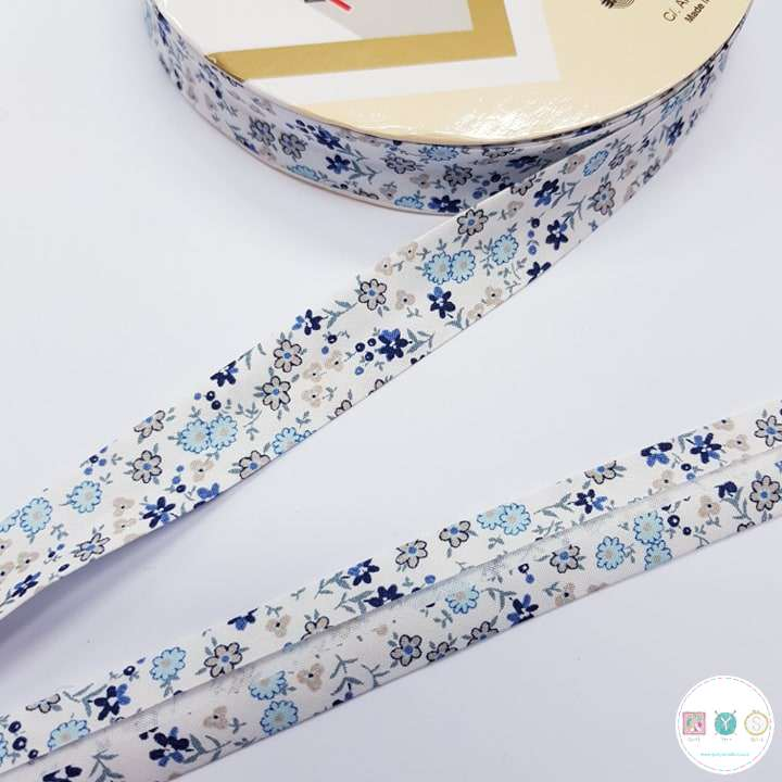 18mm Blue Floral Bias Tape - Bias Tape - Binding - Trim - Haberdashery