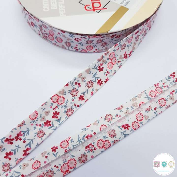 18mm Red Floral Bias Tape - Bias Tape - Binding - Trim - Haberdashery