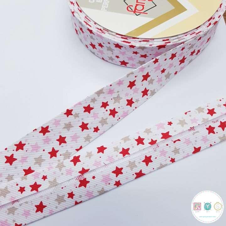 Red Stars Prefolded - 30mm Bias Tape - Binding - Trim - Haberdashery