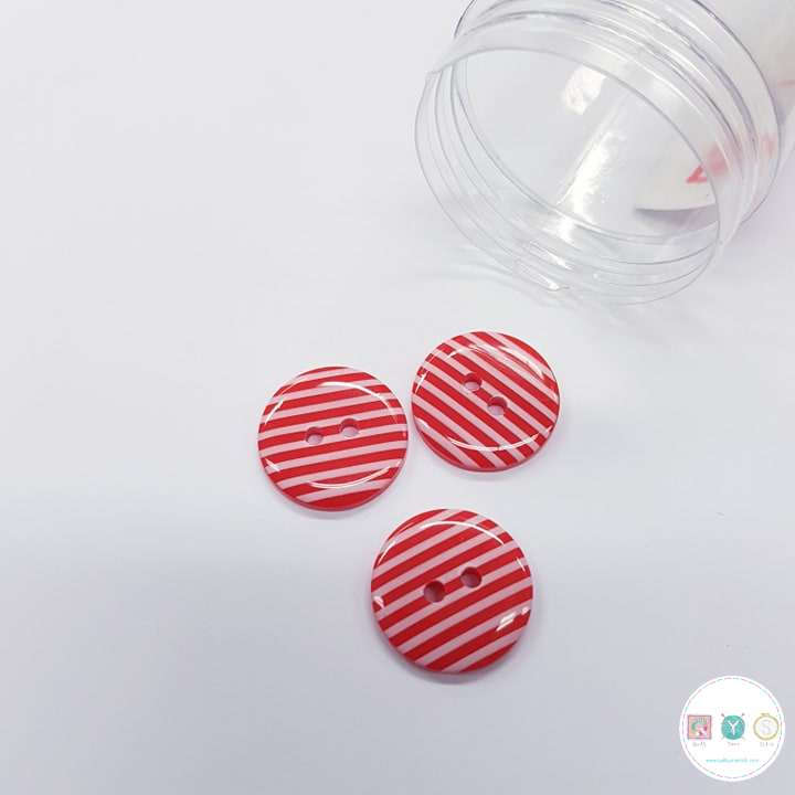 Red and White Striped Button - 20mm - Flat- 2 Hole Sew Through - Plastic - Haberdashery