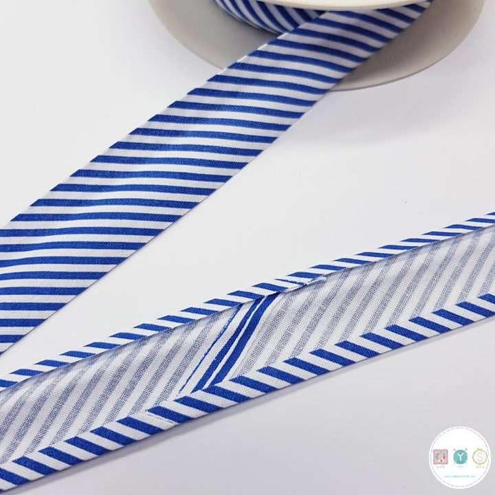 Navy Blue Stripey Cotton - 25mm Bias Tape - Binding - Trim - Haberdashery