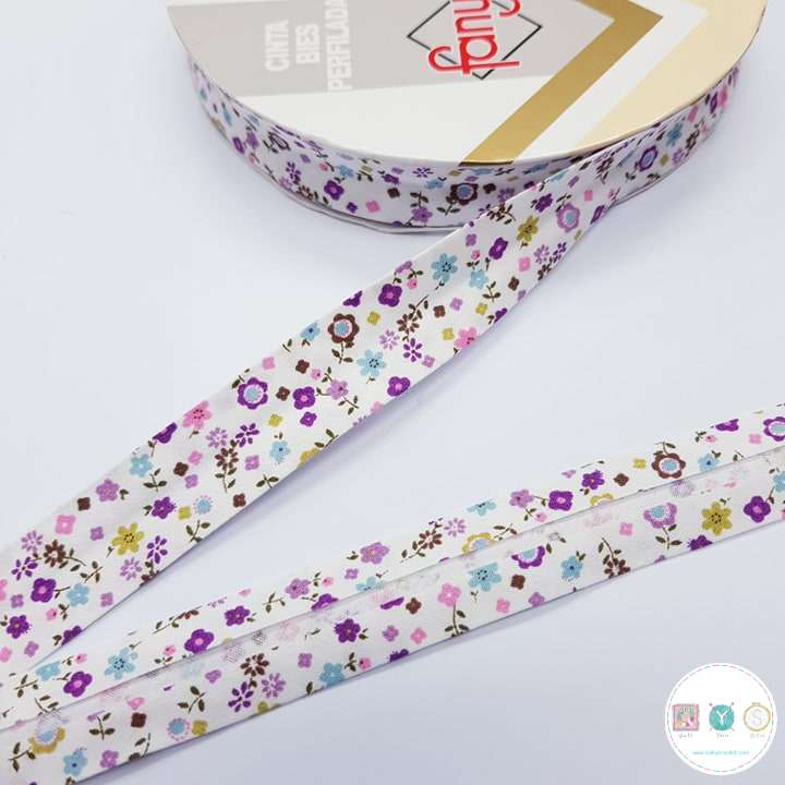 18mm Floral Purple Bias Tape - Bias Tape - Binding - Trim - Haberdashery