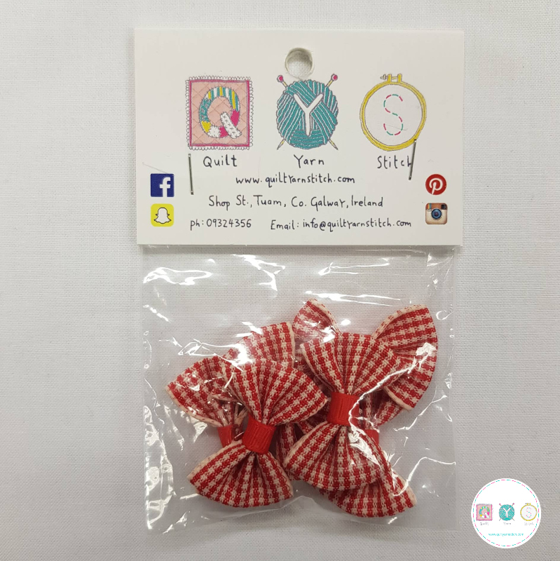Red Gingham Bow - 6 pack - Sew-on - Embellishment - Trim - Haberdashery