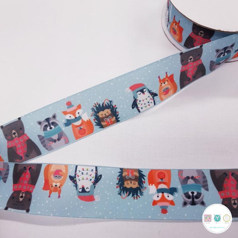 50mm - Winter Animals - Xmas - Grosgrain ribbon - Trim - Haberdashery