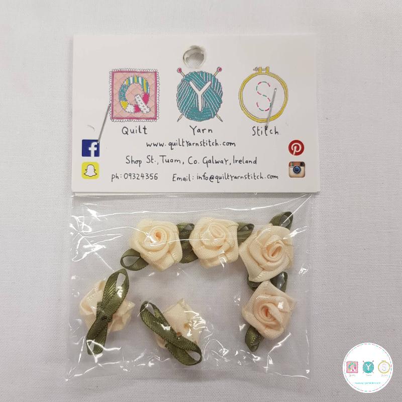 Cream Satin Roses - 6 Pack - Sew-On Embellishments - Trim - Haberdashery