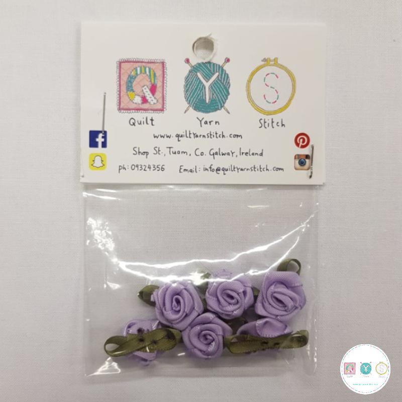 Lilac Purple Satin Roses - 6 Pack - Sew-On Embellishments - Trim - Haberdashery