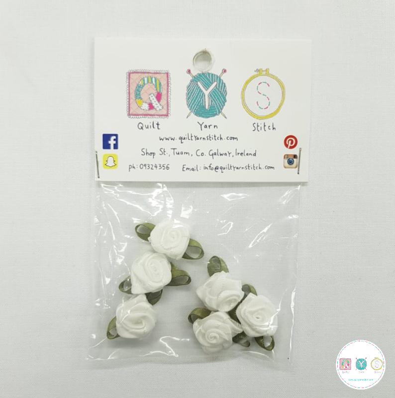 White Satin Roses - 6 Pack - Sew-On Embellishments - Trim - Haberdashery