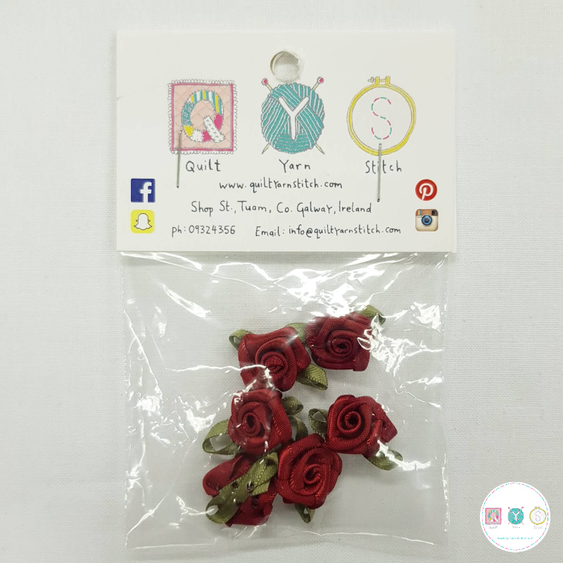 Red  Satin Roses - 6 Pack - Sew-On Embellishments - Trim - Haberdashery