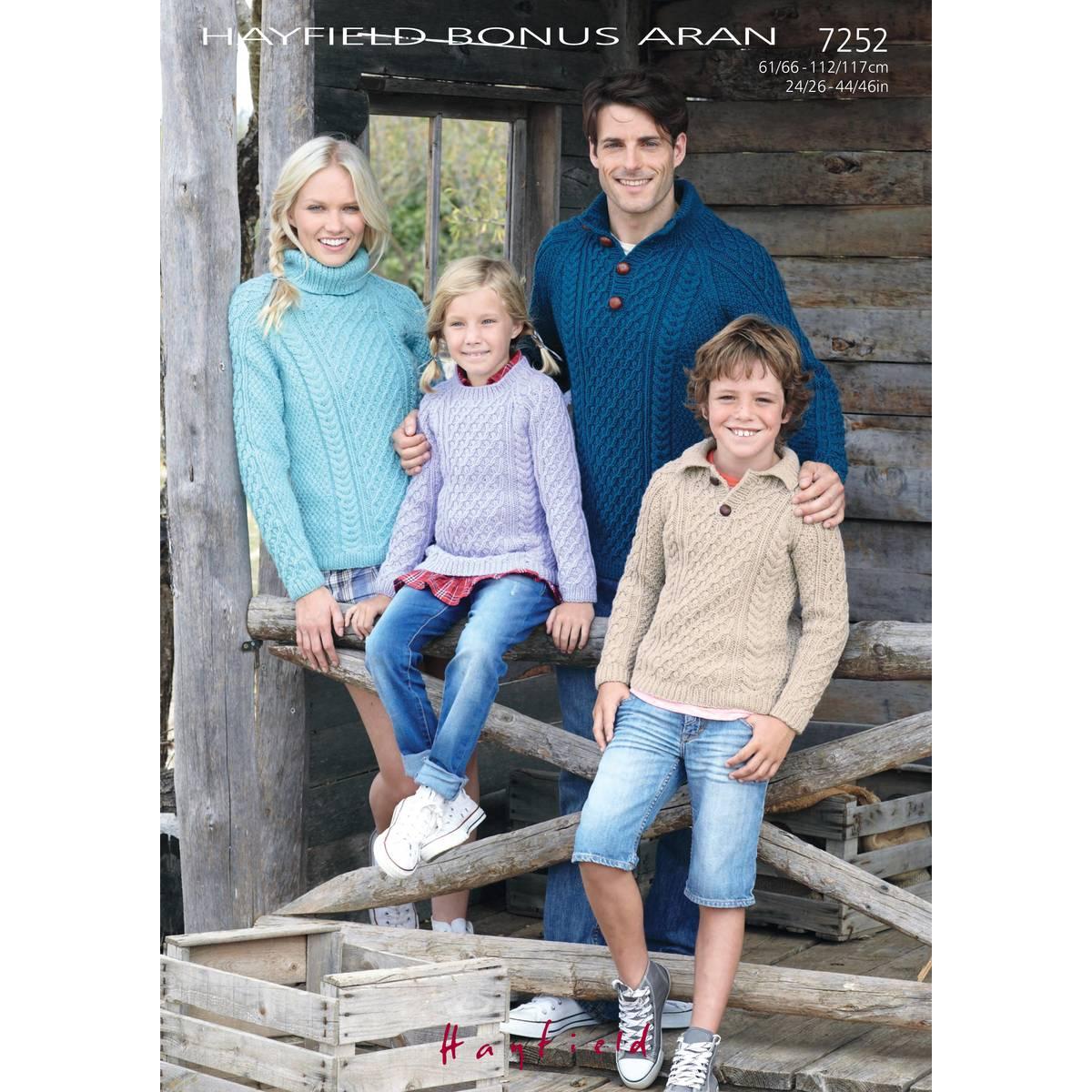 Hayfield 7252 - Sweaters in Bonus Aran Pattern