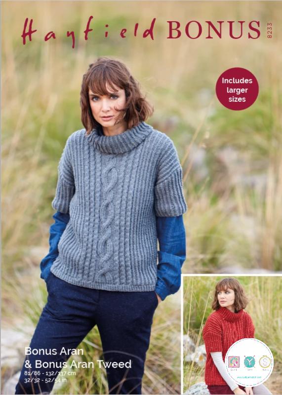 Hayfield 8233 - Ladies Sweater in Bonus Aran Tweed & Bonus Aran Pattern