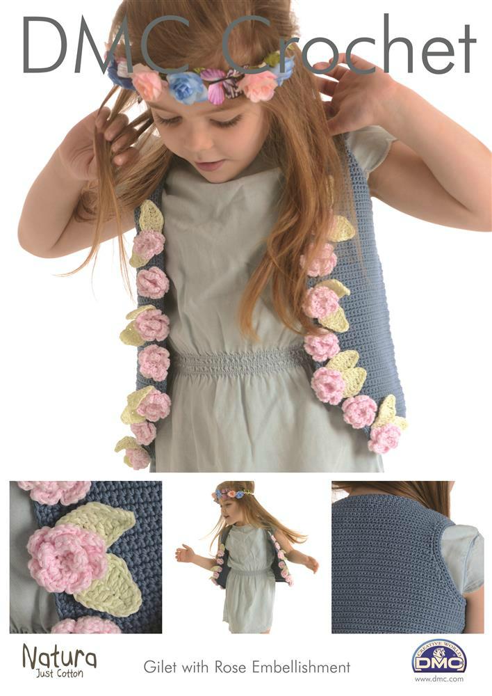 Dmc 15267l2 Gilet With Rose Embellishment Crochet Pattern
