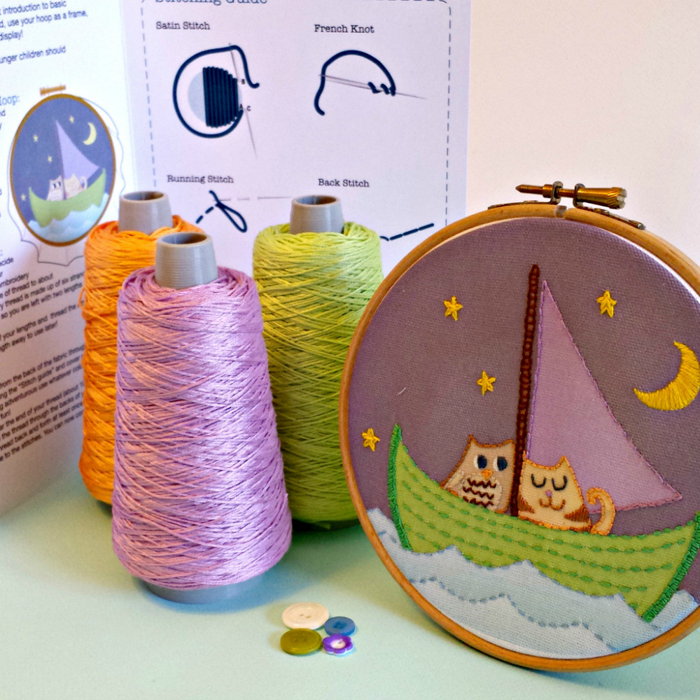 Owl & Pussycat Embroidery Kit - Childrens Gift - by Pippablue - Irish Made Gifts