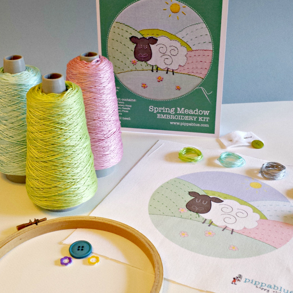 Spring Meadow Embroidery Kit- Childrens Beginners Set - by Pippablue - Irish Made Gifts