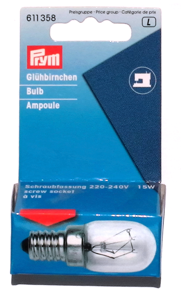 Prym - Sewing Machine Light Bulb - 15w - Screw-in Style - Easy Fit - Sewing Accessories