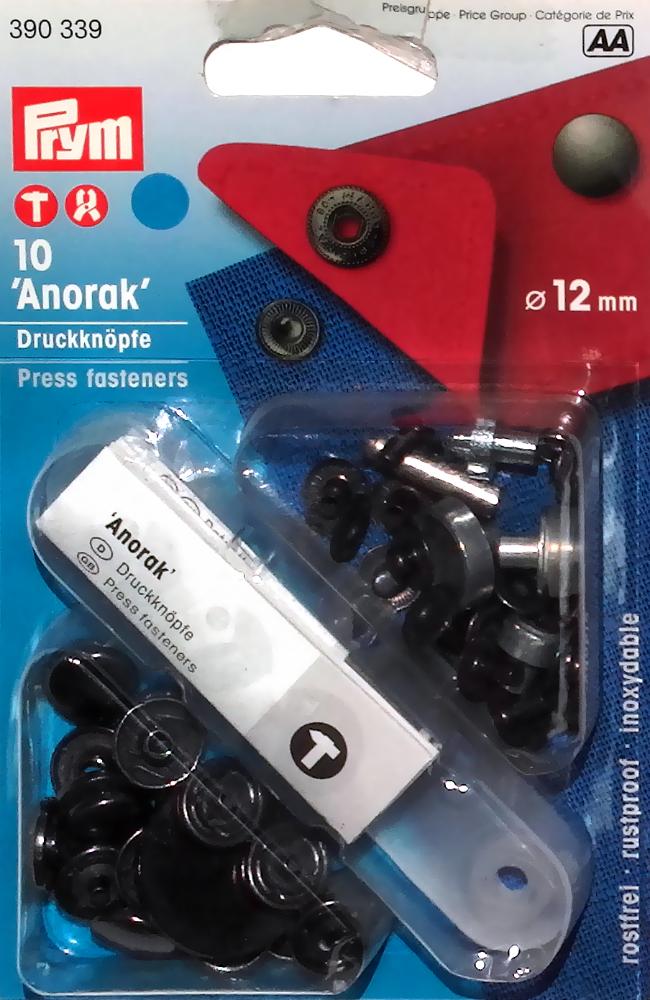 12mm Anorak Snap Fastener - Quilt Yarn Stitch