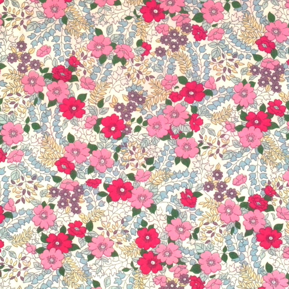 Liberty Style Grey Floral Material Cotton Poplin Fabric
