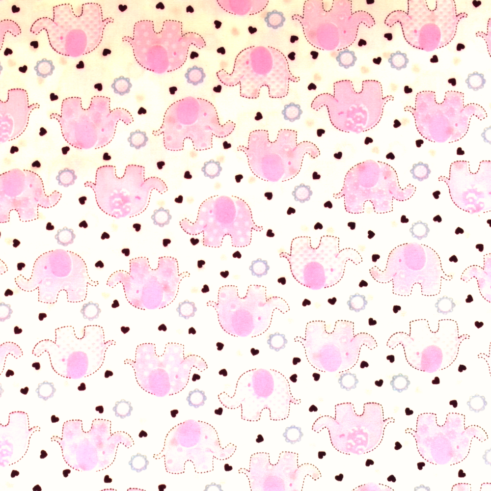 Pink Elephants Childrens Material - Cotton Poplin Fabric by Rose and Hubble