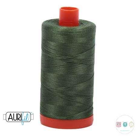 Aurifil Medium Green Thread 502 - 12/2 -12wt - Quilting Cotton Thread