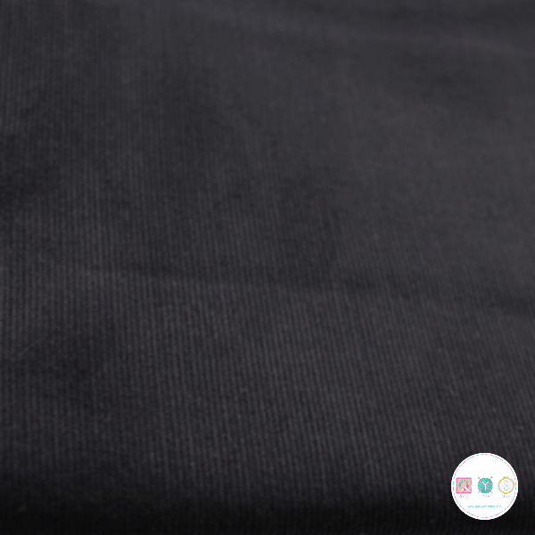 Black - 21w Babycord - 145gr/m2 - 100% Cotton Fabric - Dressmaking Textiles