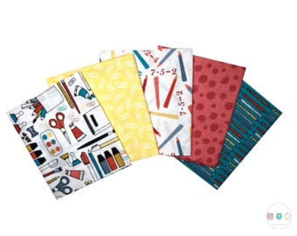 Back To School Fat Quarter Bundle - Childrens - Stationary - Quilting Pre-Cuts - Patchwork & Quilting Fabric